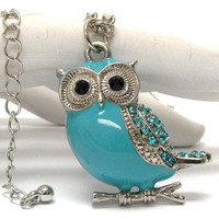 Turquoise body crystal eyed owl necklace