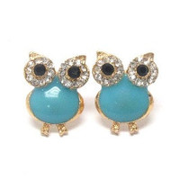 Aqua and gold crystal eyed owl earrings