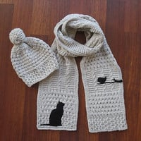 Cat Bird Scarf & Hat Set, Cream Scarf, Cream Hat, Knitted, Pet Lovers, Christmas Gift