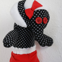 sock elephant, stuffed animal - black with white dots