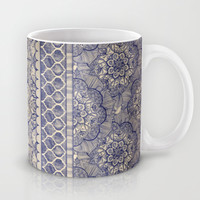 Vintage Wallpaper - hand drawn patterns in navy blue & cream Mug by micklyn