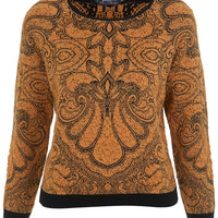 Petites Ochre Bobble Jumper - Tops - Clothing - Miss Selfridge