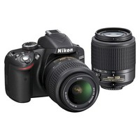Nikon D3200 24.2MP Digital SLR Camera with 18-55mm VR and 55-200mm Lenses - Black
