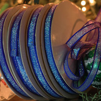 "Blue Sparkle: Festive Sparkly Skinny Ribbon, Trim / 1/4"" x 17.5 yard spool / Holiday Craft, Decorating, Decor, Gift Wrap Supplies"