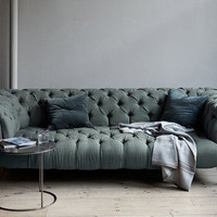 canvas — Chesterfield Sofa in Devon Linen & Mulberry Velvet