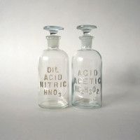 SET of 2 antique chemist bottles for acids - INSTANT COLLECTION - Vintage oddity, curiosity, pharmacy, apothecary, science, geek, nerd