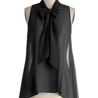 ModCloth Film Noir Mid-length Sleeveless Cute Do You Do Top in Black