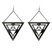 Triangle Drop Earrings - Hematite