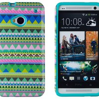 DandyCase 2in1 Hybrid High Impact Hard Mint Green & Pink Aztec Tribal Pattern + Teal Silicone Case Cover For HTC One M7 4G LTE + DandyCase Screen Cleaner
