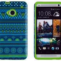 DandyCase 2in1 Hybrid High Impact Hard Blue Aztec Tribal Pattern + Lime Green Silicone Case Cover For HTC One M7 4G LTE + DandyCase Screen Cleaner