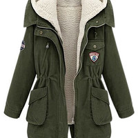 ROMWE | ROMWE Two Piece Hooded Long Sleeves Army Green Coat, The Latest Street Fashion