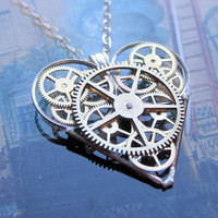 "Gear Heart Necklace ""Combustion"" Clockwork Elegant Industrial Heart Necklace Mechanical Love Sculpture Gershenson-Gates Gear Heart"