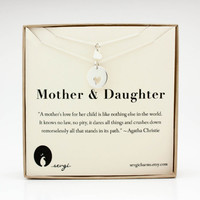 Matching Mother Daughter Necklace Set - .925 Sterling Silver . Kids Girls Jewelry . Gift Ideas for Her, Mom, Kids & Baby . Mother Necklace