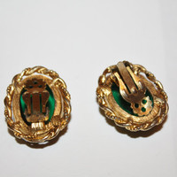 Vintage Emerald Green Cabochon Earrings 1950s Jewelry