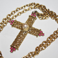 Vintage Filigree Necklace Cross Statement Pendant 1970s Jewelry