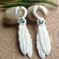 "Fake Gauge Earrings, ""Jeweled Feathers"" Naturally Organic, Hand Carved, Bone, Paua Shell, Tribal"