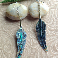 "Tribal Hanging Earrings, ""Paua Feathers"" Naturally Organic, Paua Shell, Brass Chains, Sterling Hooks, Hand Carved"