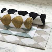 Harlequin Black White Rug -Checkerboard Black White Rug