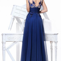 New Long Blue Applique Evening Formal Prom Party Cocktail Dresses Wedding Gown`