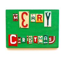 MERRY CHRISTMAS, OOAK license plate art, holiday gift, stocking stuffer, teacher gift, yankee swap, christmas present, holiday decor