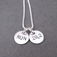 RUN DISTANCE Sterling Silver 2 Disc Necklace - Choose either RUN or 5K, 10K, 13.1 or 26.2 - Sterling Silver pendants on Sterling Silver or Leather and Sterling Chain