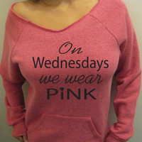 On Wednesdays We Wear Pink Eco Friendly Pink Fleece Sweatshirt Off Shoulder