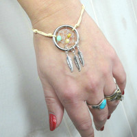 Ivory Dream Catcher Bracelet or Anklet with Tan and Mint Green