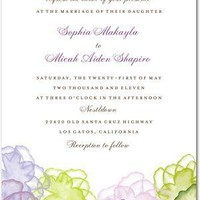 Signature White Textured Wedding Invitations - Floral Watercolor by Wedding Paper Divas