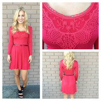 Red Crochet Long Sleeve Dress with Belt