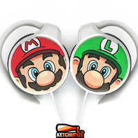 Super Mario handpainted clip headphones - Mario and Luigi - green red