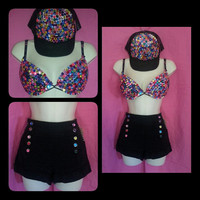 FREE SHIPPING: Custom rave outfit - high shorts, snapback, and bra