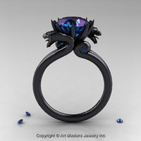 Art Masters 14K Black Gold 3.0 Ct Russian Alexandrite Dragon Engagement Ring R601-14KBGAL