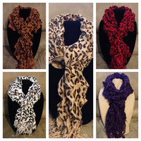 20% off HOLIDAY SALE: Multi colored cheetah print ruffle scarves
