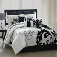 9 Piece Queen Arezzo Black and White Bedding Comforter Set