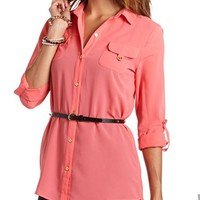 BELTED CHIFFON BUTTON-DOWN TUNIC