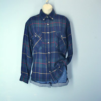 Vintage 1980s Flannel Shirt Mens Soft Navy Green Plaid