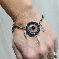 Dream Catcher Bracelet with Turquoise and Onyx