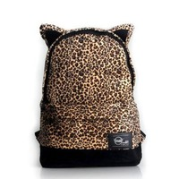 Leopard Print Rivet Vintage Fashion Students School Bag Backpack