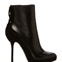 CHRISTIAN DIOR Black Lace Up Bootie
