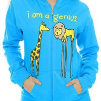 Lion Giraffe I Am A Genius Girls Zip Hoodie