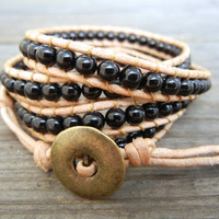 Beaded Leather Wrap Bracelet 4 Wrap with Black Czech Glass Beads on Natural Tan Leather Unisex
