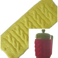 "French Press Pot Cozy, Lemon Yellow Hand Knitted Cable Pattern Cafetiere Cozy, Fits Beaker 12"" (30.5cm) in Diameter, Free US Shipping"