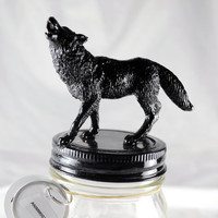 Coyote Decorative Animal Mason Storage Jar (Black Series: Medium)