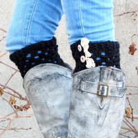 DISCOUNT Boot Cuffs LegWarmers Ruffle Trim Button Up Boot Topper with Crochet Lace Trim Buttons for Stocking Stuffers in Black, Faux Leg Wa