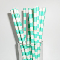 Sailor Striped Paper Straws 50 Aqua Stripe Paper Drinking Straws Cake Pop Stick-Wedding Birthday Bridal Easter-Long Fun Paper Straw