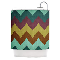 Catherine McDonald Mountain High PEACOCK CHEVRON Shower Curtain | KESS InHouse - BLACK FRIDAY 40% OFF SALE
