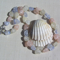"Crackled Quartz Crystal Gemstone Necklace - ""Lullaby"""