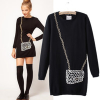 Chain bag winter sweater black from Sweetbox Store
