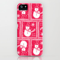 Let It Snow - Festive Red iPhone & iPod Case by Heather Dutton