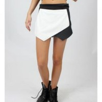 White and Black Faux Leather Skort Shorts